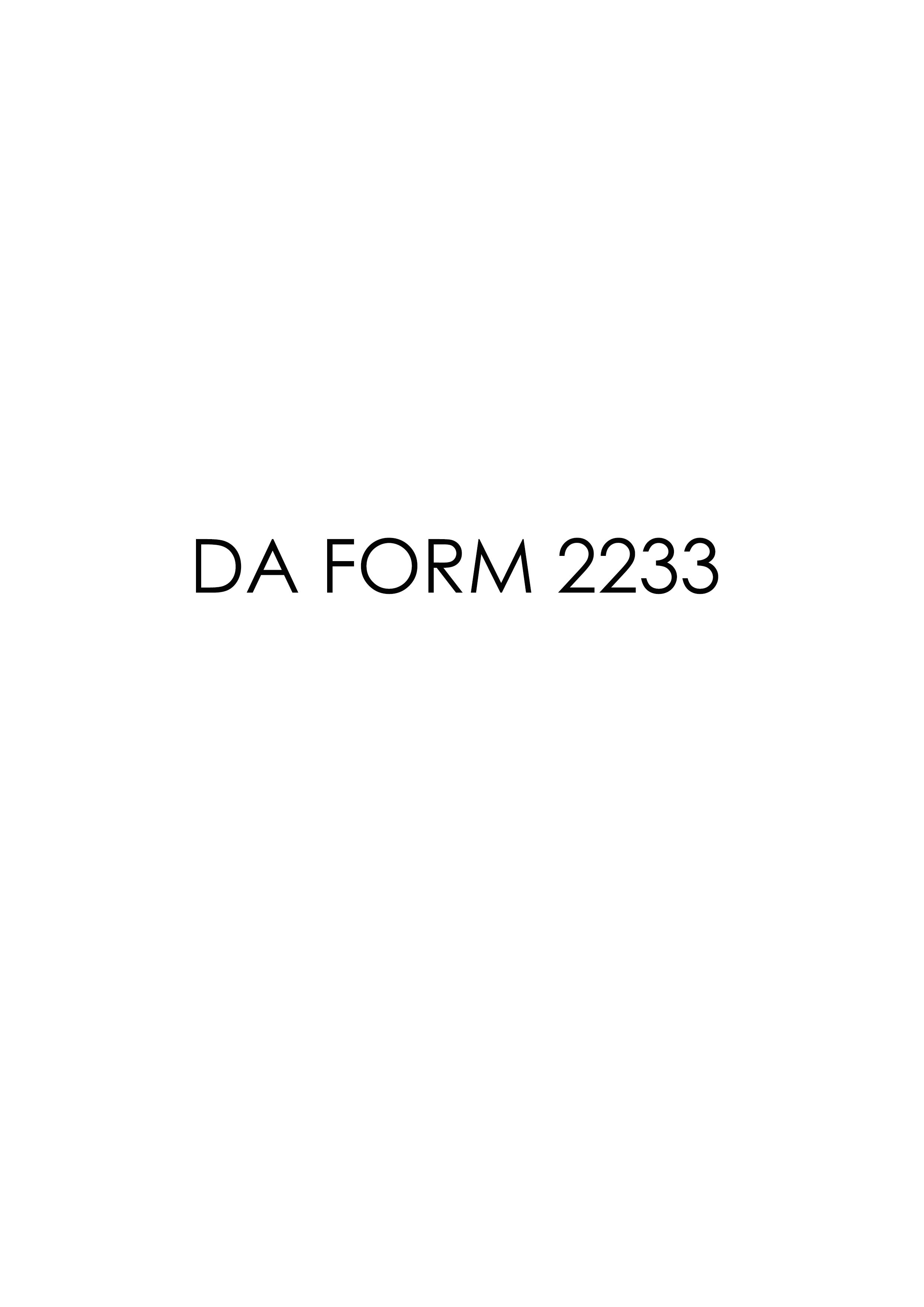 Download da Form 2233 Free