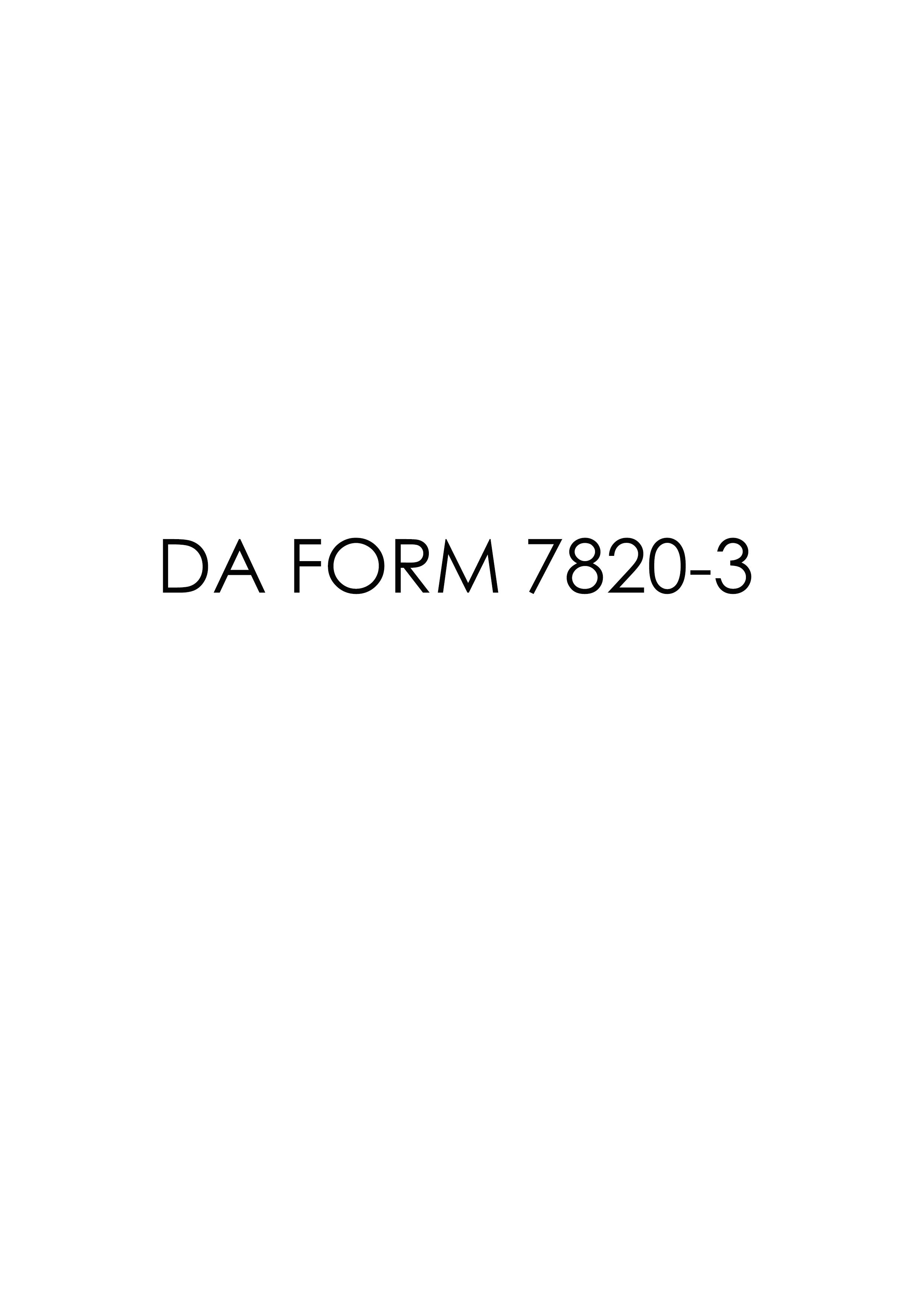 Download da Form 7820-3 Free