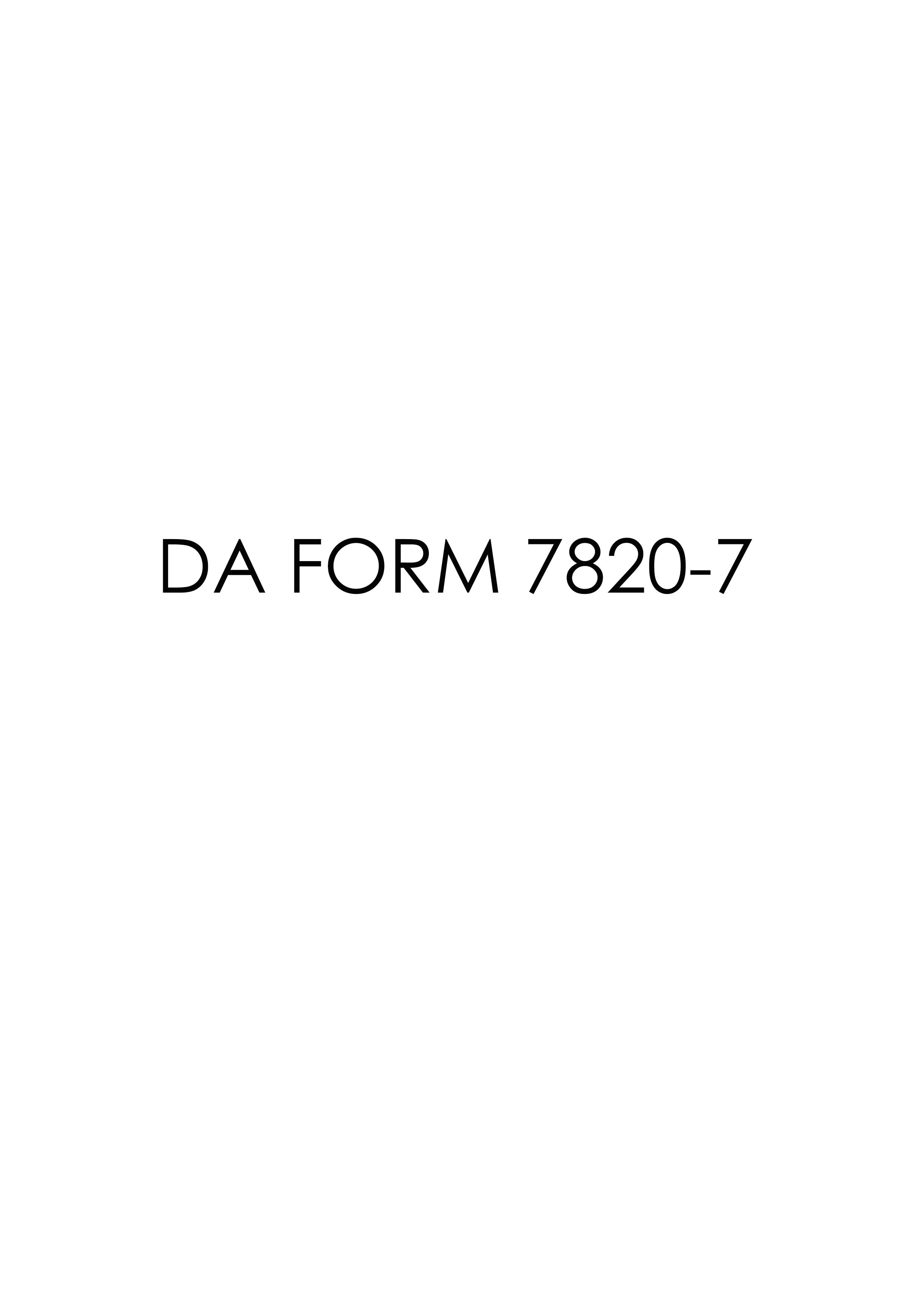 Download da Form 7820-7 Free