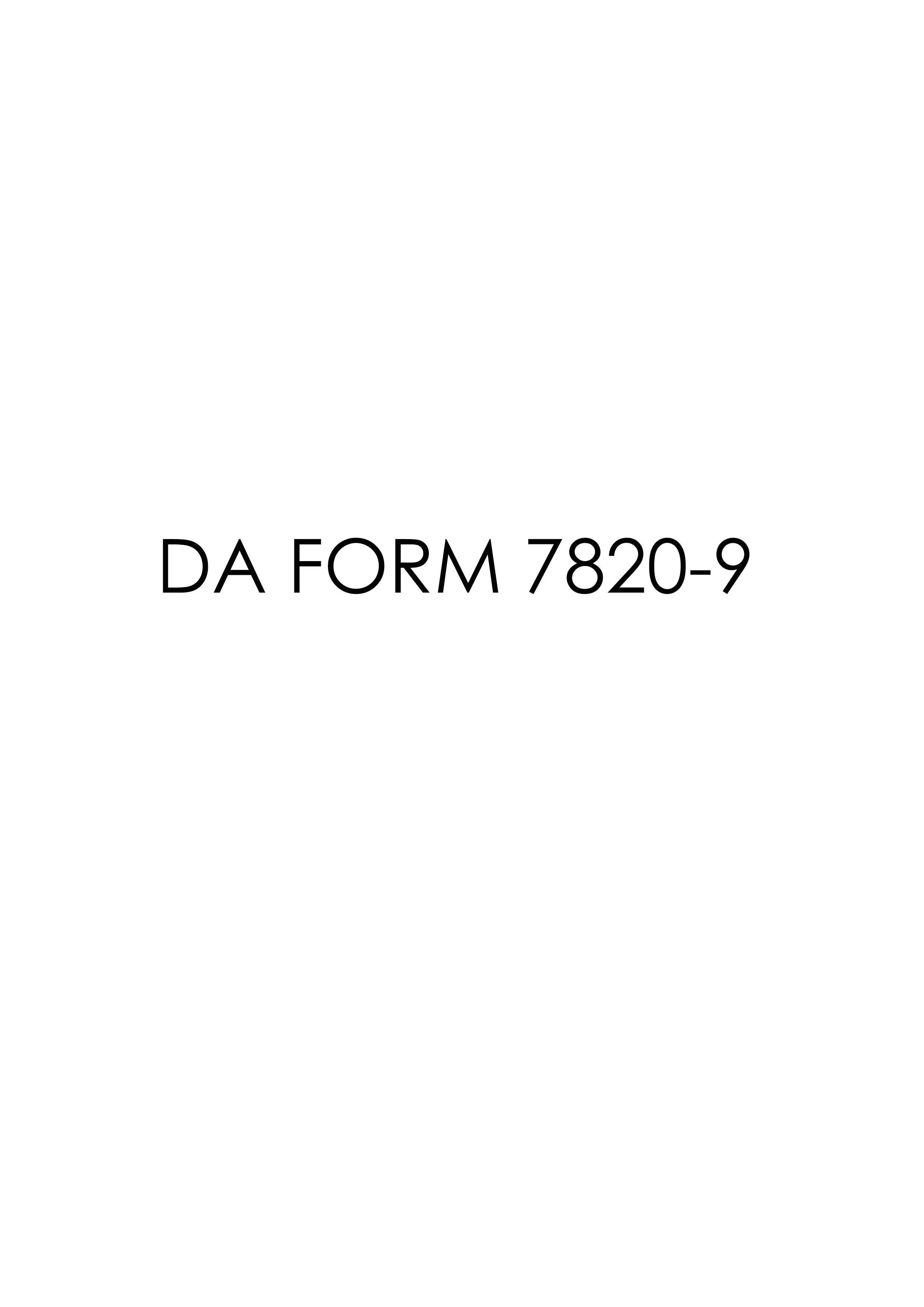 Download da Form 7820-9 Free