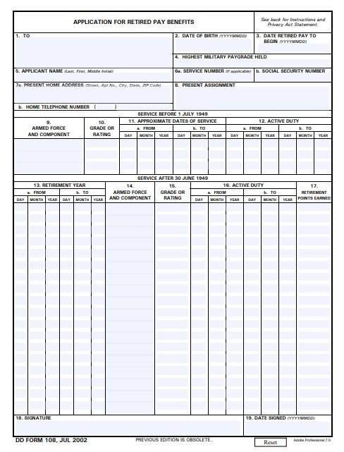 Download dd Form 108 Free