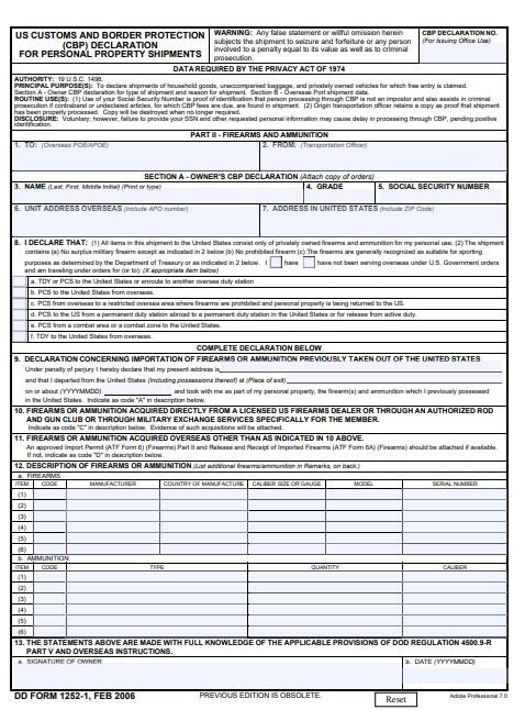Download dd Form 1252-1 Free