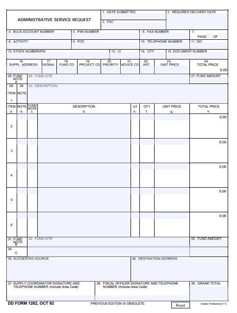 Download dd Form 1262 Free