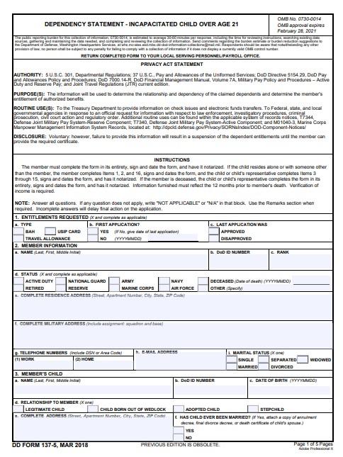 Download dd Form 137-5 Free