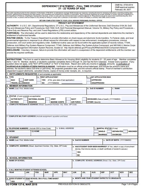 Download dd Form 137-6 Free