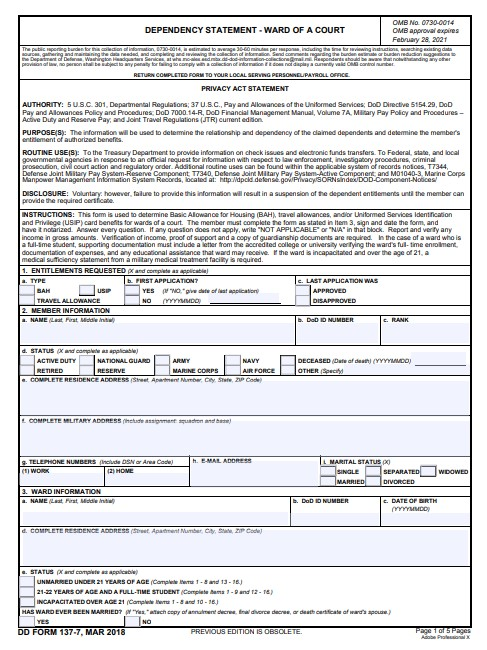 Download dd Form 137-7 Free