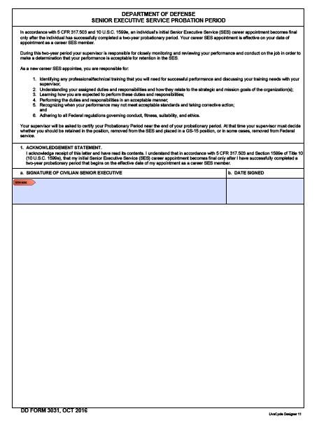 Download dd Form 3031 Free