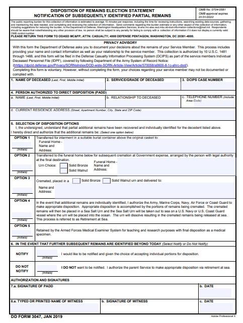 Download dd Form 3047 Free