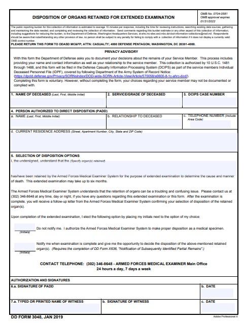 Download dd Form 3048 Free
