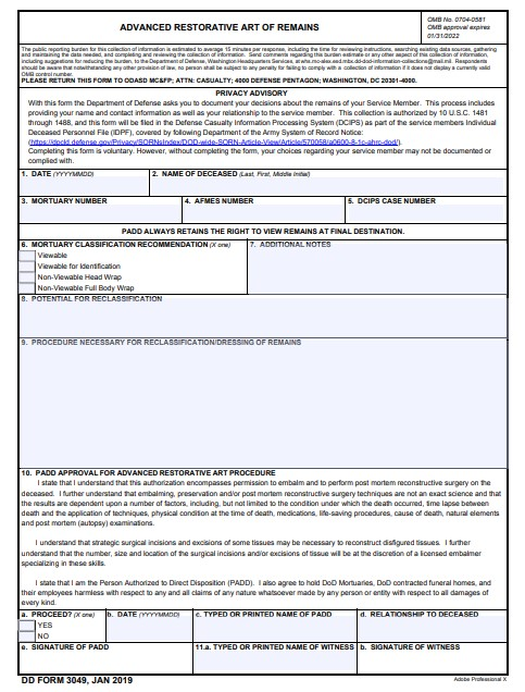 Download dd Form 3049 Free