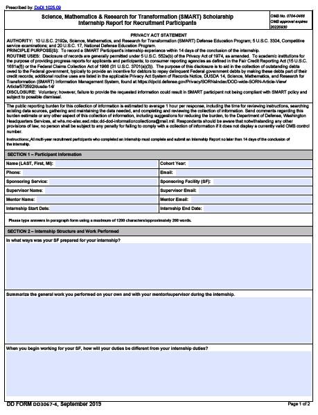 Download dd Form 3067-4 Free