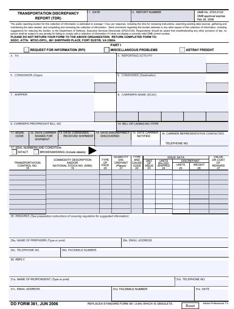 Download dd Form 361 Free
