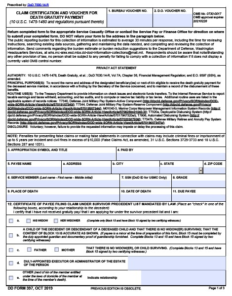 Download dd Form 397 Free