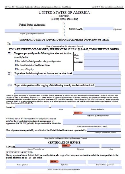 Download dd Form 453 Free