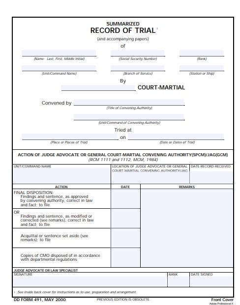 Download dd Form 491 Free