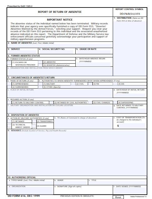 Download dd Form 616 Free