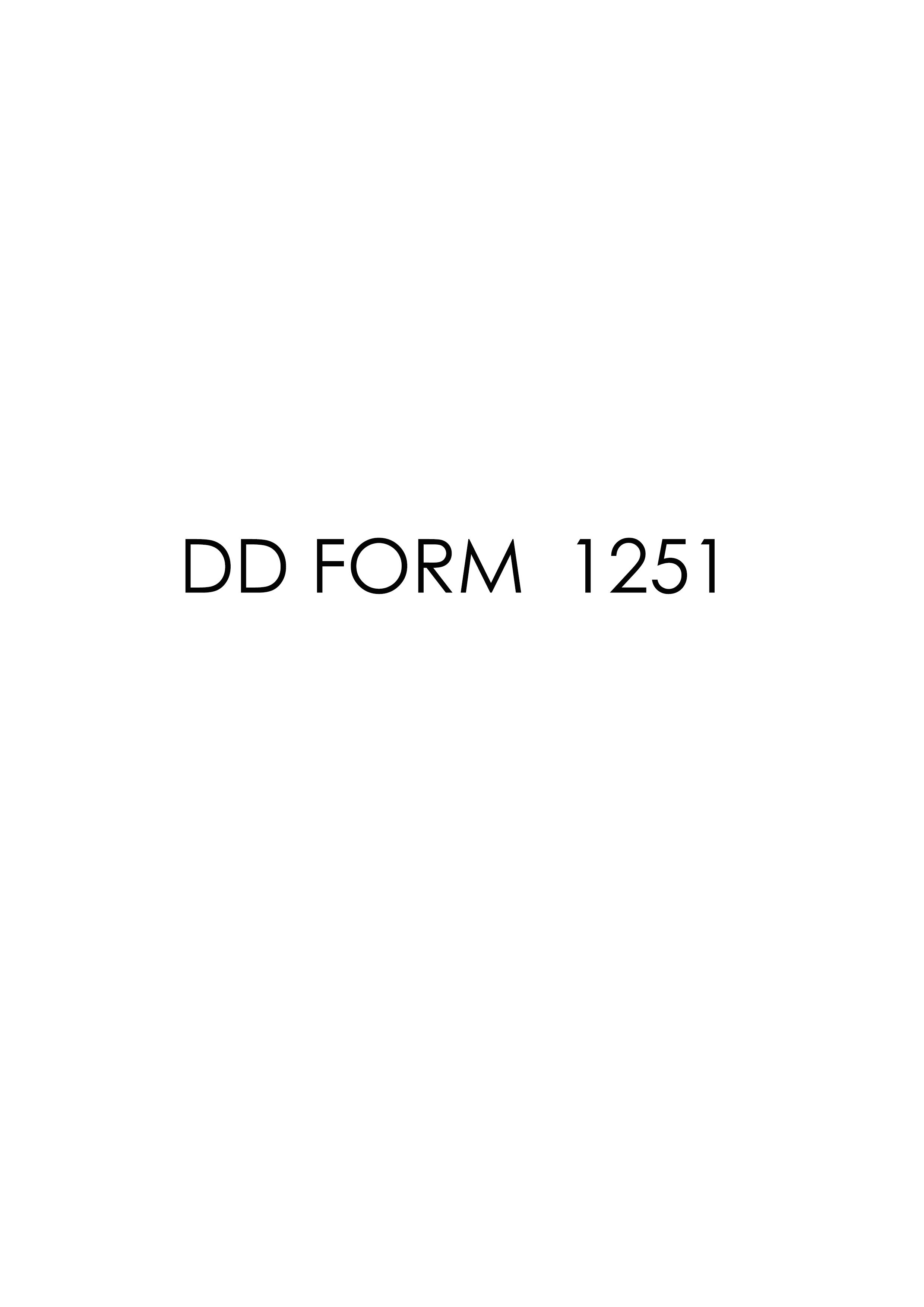 Download dd Form 1251 Free