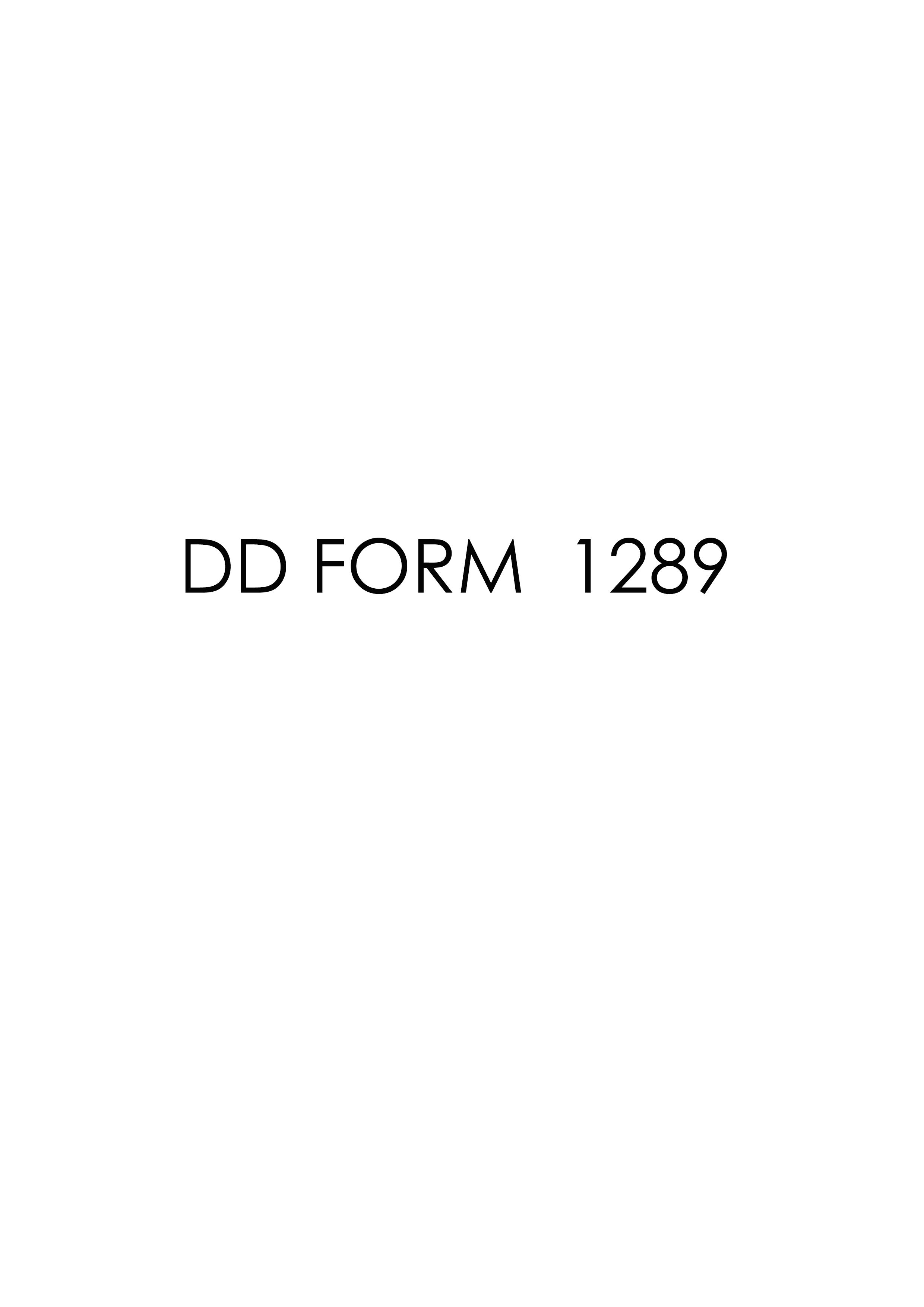 Download dd Form 1289 Free