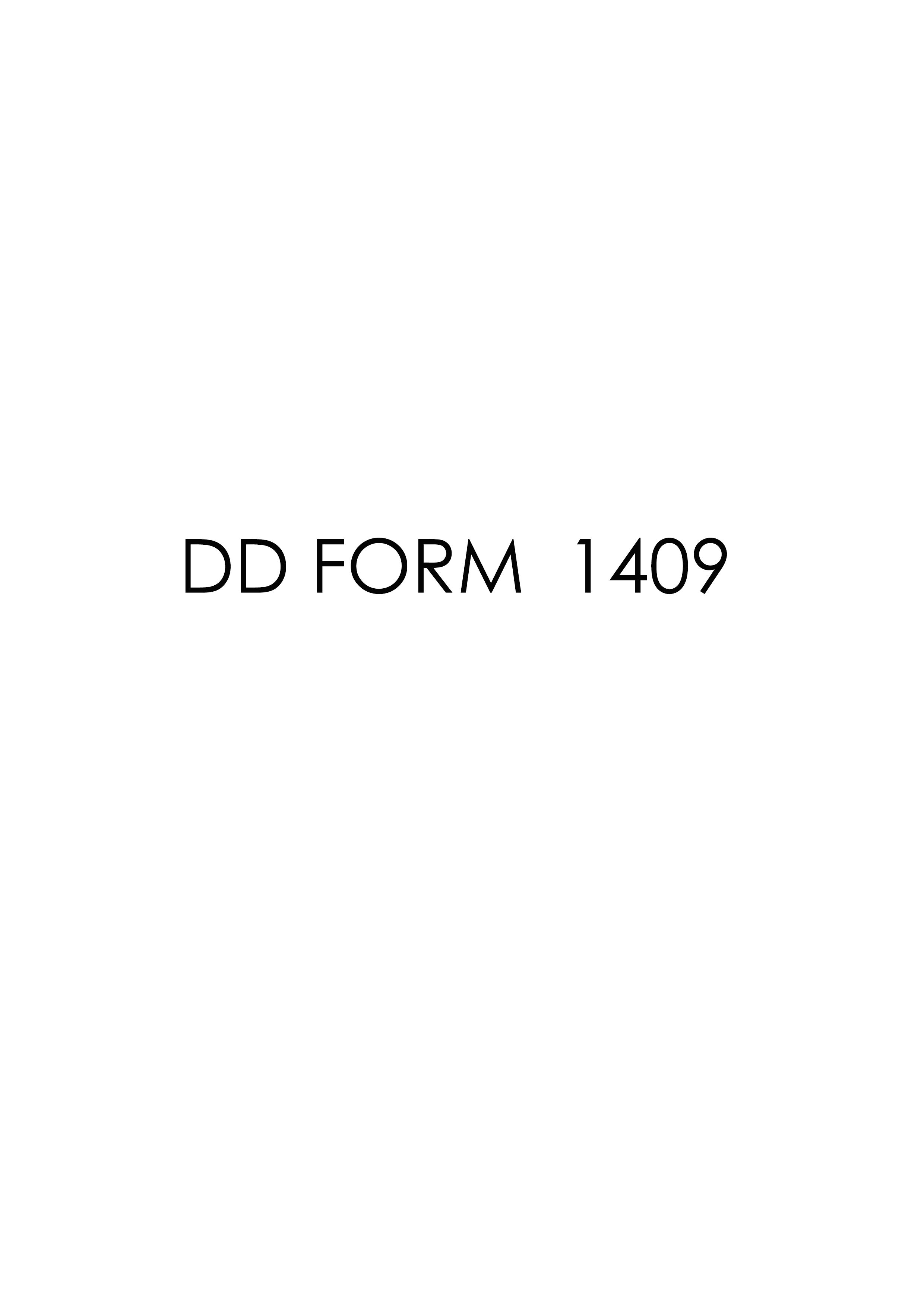 Download dd Form 1409 Free