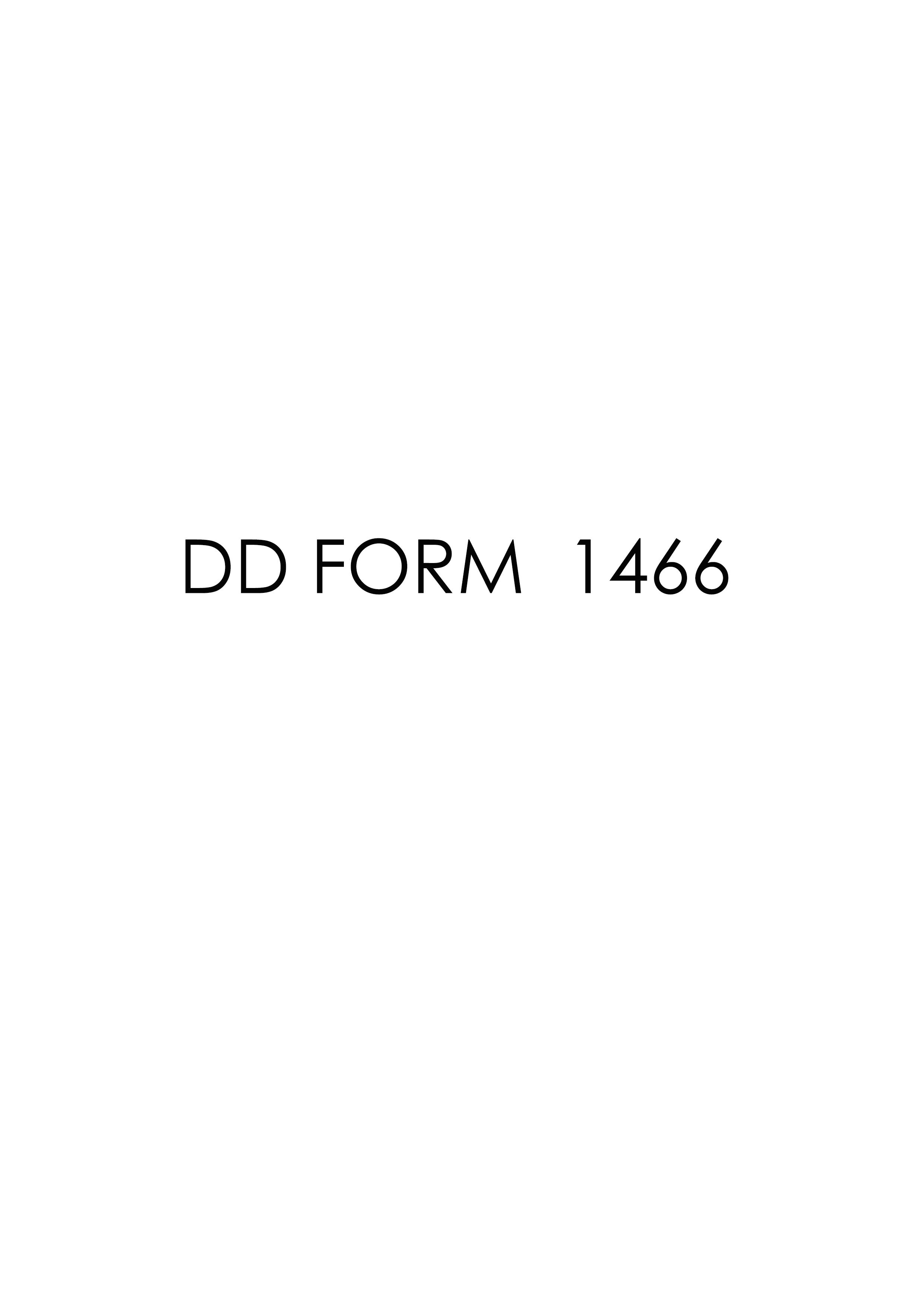 Download dd Form 1466 Free