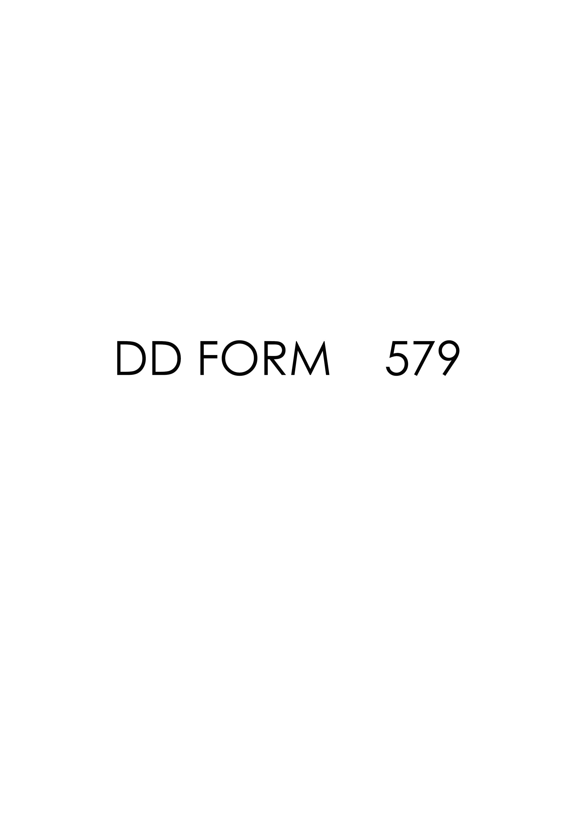 Download dd Form 579 Free