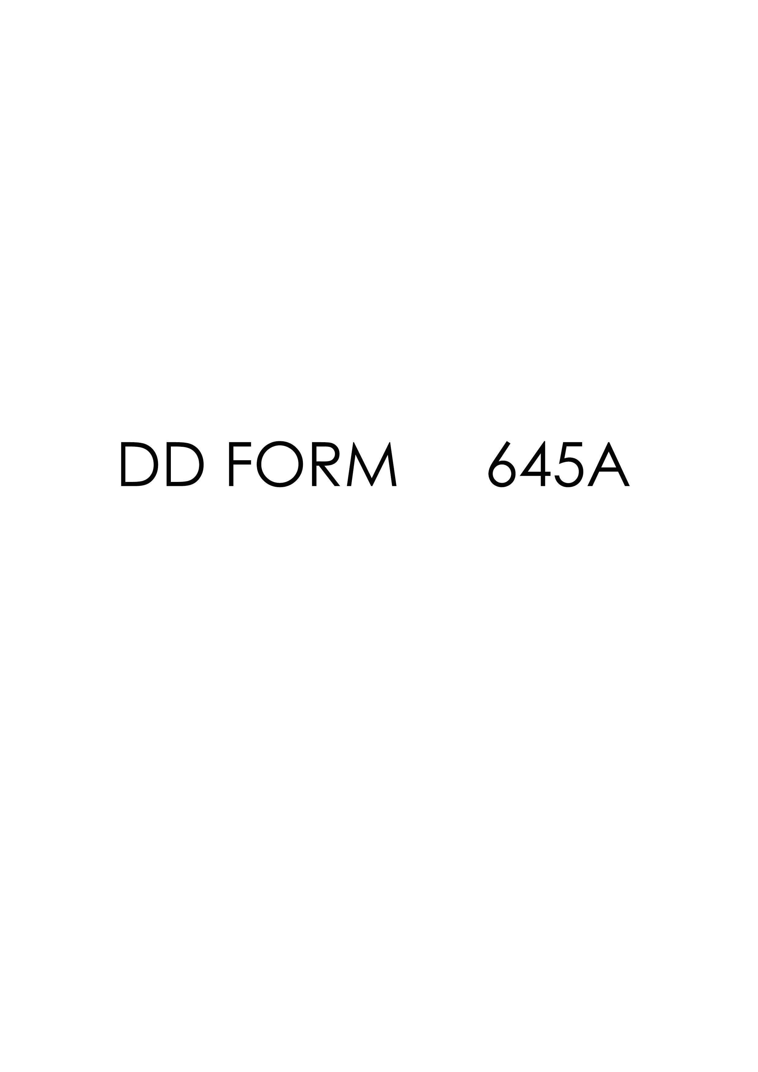 Download dd Form 645A Free